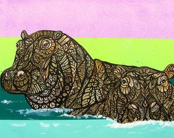 Hippopptamus Tangle Art Print