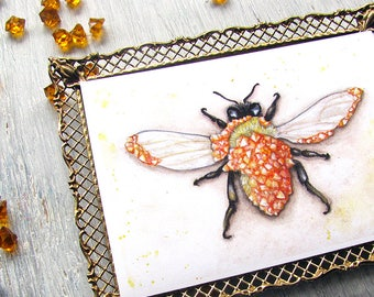 Honey-  Citrine Crystal Bee Watercolor Art Print