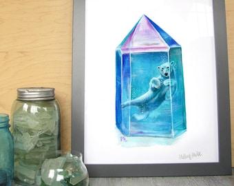 Aura ursas - Polar Bear crystal watercolor art print