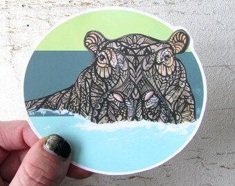 Hippo Tangle Sticker - Waterproof Decal