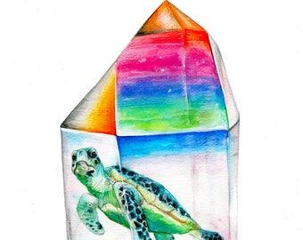 Aura tortuga - Sea Turtle Crystal Watercolor art print