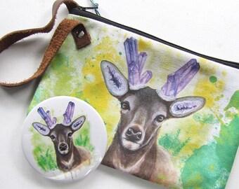 Amethystos Handmade Wristlet Zipper Bag - Crystal Deer Watercolor