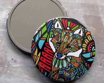3 inch Fox Art Pocket Mirror - Fox Hand Mirror, Fox Compact Mirror