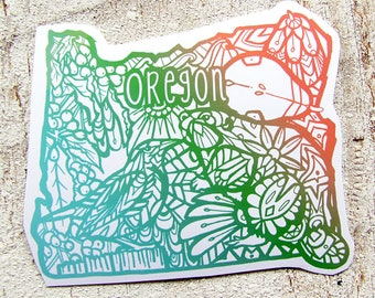 Oregon  Decal Waterproof  Sticker Beaver, Medowlark, Pear, State Symbols