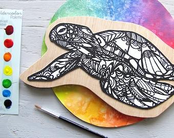 Watercolor Painting Kit Sea Turtle Art, Zentangle, Kids, DIY, Coloring