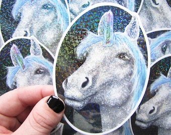 Unicorn Glitter Sticker - Waterproof Decal Holographic Rainbow