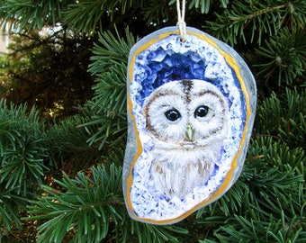 Owl Geode Ornament