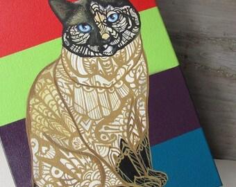 Cat Zentangle Custom Painting