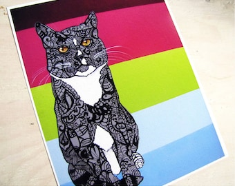 Cat Art Print Zentangle Jolly Roger