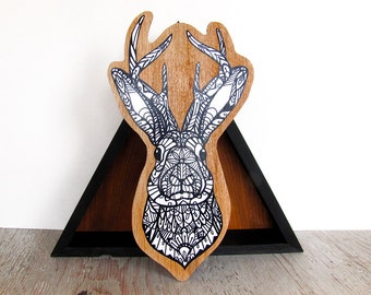 Jackalope Zentangle Mounted Art Print