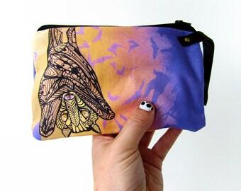 Bat Wristlet Zipper Bag Zentangle Design
