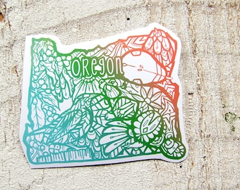 Oregon  Decal Waterproof  Sticker Beaver, Medowlark, Pear, State Symbols