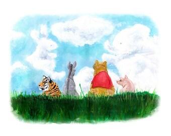 Winnie Pooh Art Print - 100 Acre Wood - Tigger - Piglet - Eeyore - Nursery Art -Archival Print