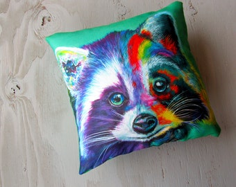 Raccoon Art Pillow Surreal Decorative Pillow