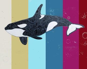 Orca Art Print - Zentangle Killer Whale Archival Reproduction