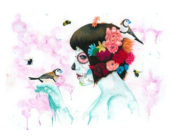 The Birds & the Bees  Day of the Dead Art Print