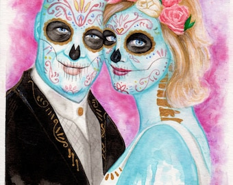Custom Portrait Day of the Dead - Dia de los Muertos Sugar Skull