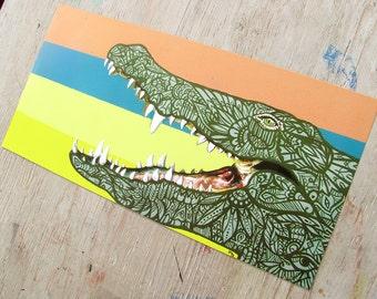 Crocodile Zentangle Art Print