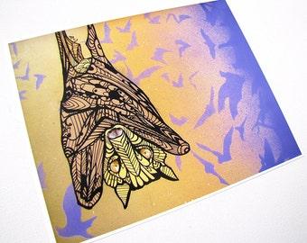 Bat Art Tangle Print Zentangle Inspired