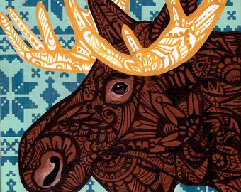 Moose Zentangle Art Print