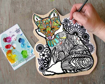 Fox Coloring Canvas Mounted Print - Paint Your Own Art Kit