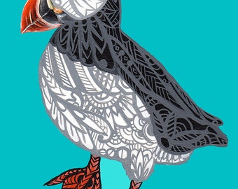 Puffin Zentangle Art Print