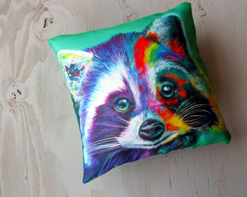 Raccoon Art Pillow Surreal Decorative