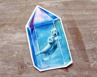 Polar Bear Sticker Crystal - Waterproof Decal - Aura Crystal