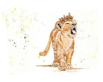Lion King Art Print - Fairytale - Nursery Art - Cub - Children - Crown
