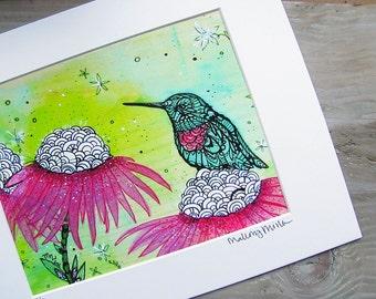 Hummingbird Zentangle Art Print -  Limited Edition