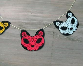 Cat Sugar Skull Garland- Printable  DIY decor - Day of the Dead  - Dia de los Muertos - Colorful - Wedding- Teal