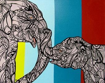 Elephant Zentangle Mom and Baby Art Print