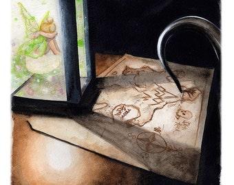 Neverland Art Print - Hangman's Tree  Watercolor Tinkerbell Peter Pan