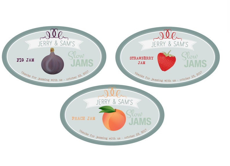 Custom Jam Label WEDDING FAVOR Slow Jams