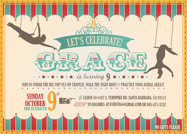Custom printable circus trapeze birthday invitations etsy image 0 filmwisefo