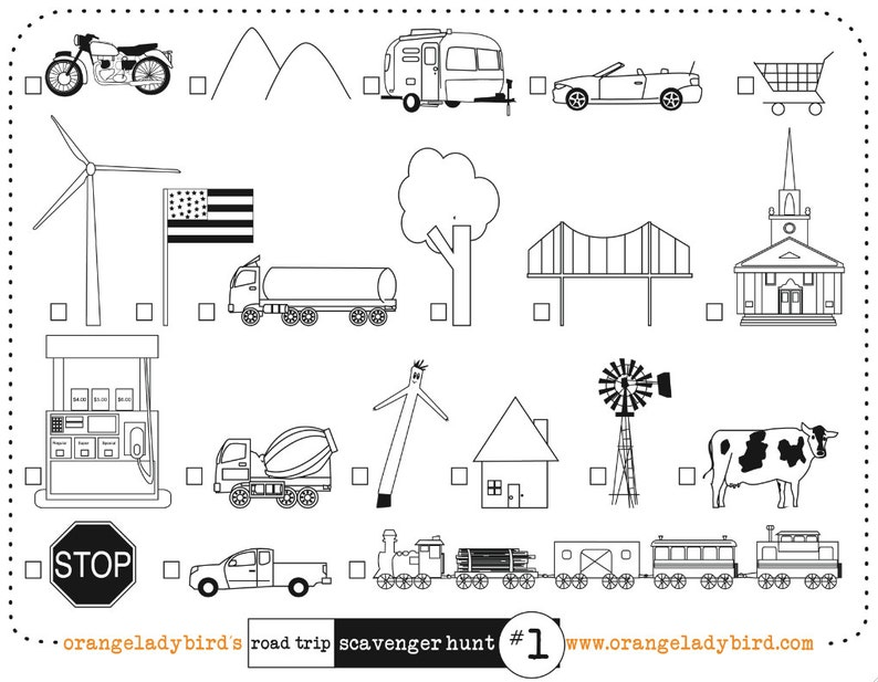photograph regarding Road Trip Scavenger Hunt Printable referred to as Printable Street Getaway Scavenger Hunt -1- Illustrated Children Video game Video game