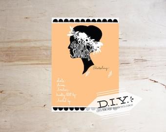 DIY Printable- Peach Bridal Shower Invitation digital file- Instant download