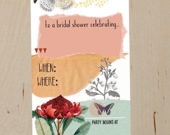 DIY Printable- Nature Collage Bridal Shower Invitation- digital file- Instant download