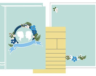 Blank DIY Library Book Invitation Set PDF (Bride and Groom Silhouettes - Light Blue/Blue)