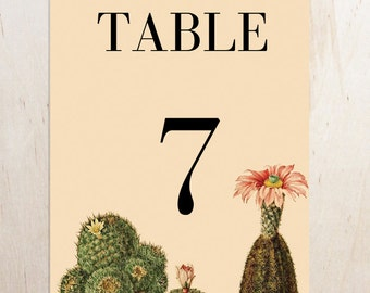Printable Cactus Wedding Table Numbers and Placecards - Instant Download