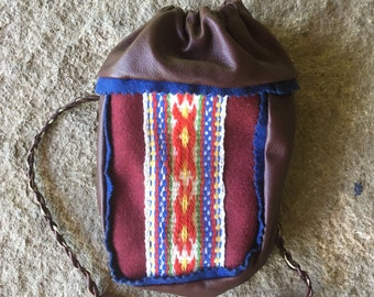 Sami Reindeer Leather Coffee Bag Maroon pouch purse Red Pewter Embroidery Saami band weaving  Free Shipping
