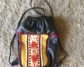 Sami Reindeer Leather Coffee Bag Black Yellow pouch purse  Pewter Embroidery Saami band weaving  Free Shipping