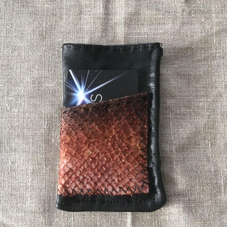 Black Reindeer   Salmon Fish Leather Card Wallet Case Holder  e518881217d9