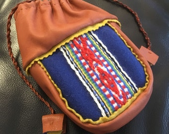 Sami Reindeer Leather Coffee Bag Alder pouch purse Blue Pewter Embroidery Saami band weaving Small Free Shipping
