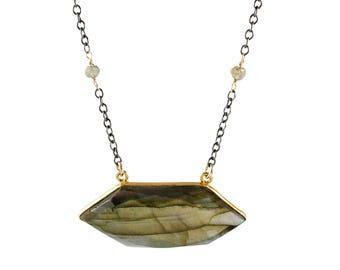 Gold and Labradorite Hexagonal Pendant Necklace