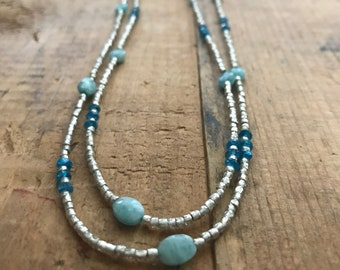 Silver Glass, Amazonite, and Dark Apatite Long Beaded Necklace