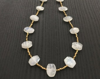 Brass Bead and Rainbow Oval Moonstone Necklace