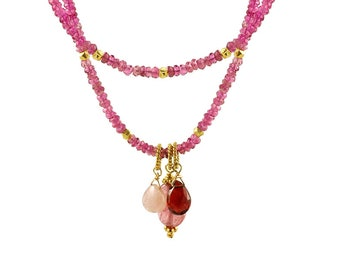 Pink Tourmaline, Pink Sapphire, Garnet and Gold  2 Strand Beaded Necklace