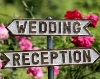 directional rustic WEDDING signs hand carved wooden RECEPTION sign country chic wedding decor