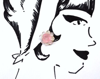 Romantic Rose Vintage Clip-On Earrings - Bridal jewelry - Spring wedding